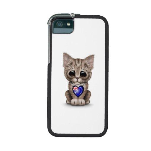 Cute Kitten Cat with Australian Flag Heart, white iPhone 5/5S Cases