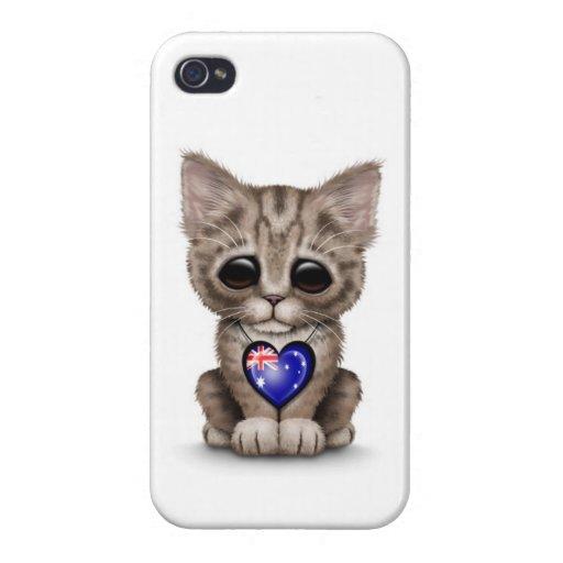 Cute Kitten Cat with Australian Flag Heart, white Case For iPhone 4
