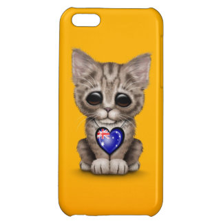 Cute Kitten Cat with Australian Flag Heart, yellow Case For iPhone 5C