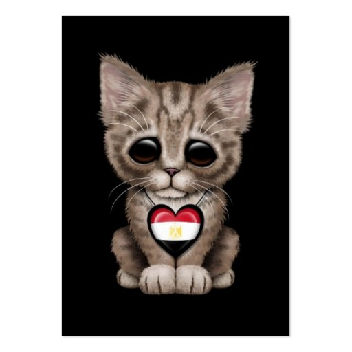 Cute Kitten Cat with Egyptian Flag Heart, black Business Card Templates