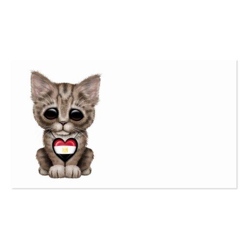 Cute Kitten Cat with Egyptian Flag Heart Business Card Template