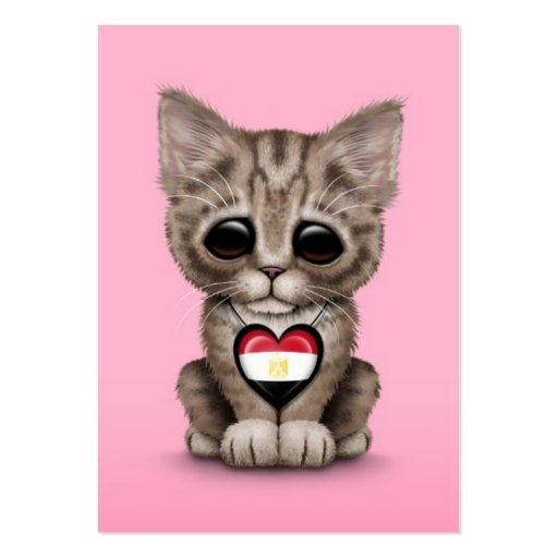 Cute Kitten Cat with Egyptian Flag Heart, pink Business Card Templates