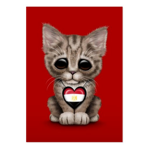 Cute Kitten Cat with Egyptian Flag Heart, red Business Card