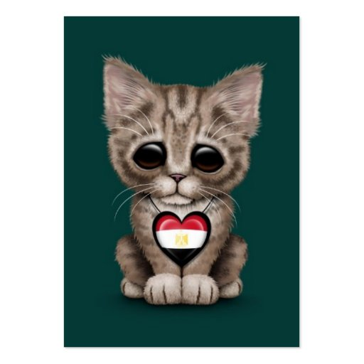 Cute Kitten Cat with Egyptian Flag Heart, teal Business Cards