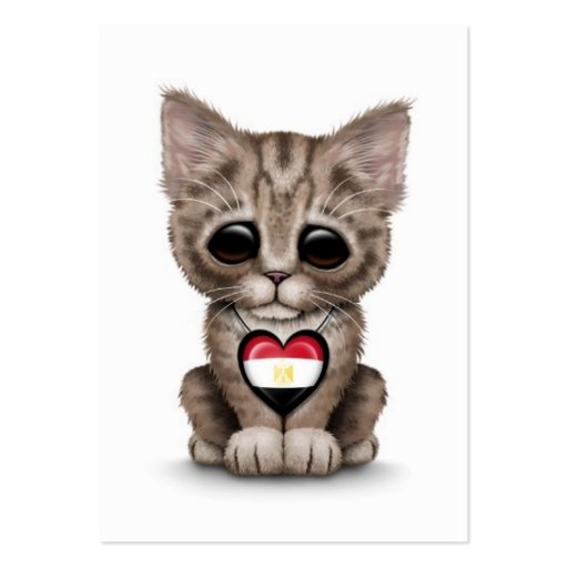 Cute Kitten Cat with Egyptian Flag Heart, white Business Cards