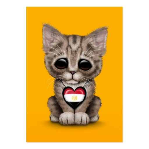 Cute Kitten Cat with Egyptian Flag Heart, yellow Business Card Template