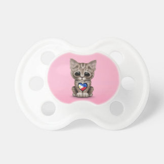 Cute Kitten Cat with Filipino Flag Heart, pink Pacifiers