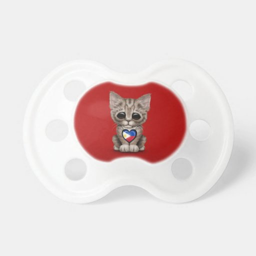 Cute Kitten Cat with Filipino Flag Heart, red Baby Pacifiers