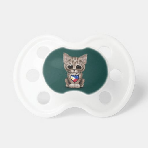 Cute Kitten Cat with Filipino Flag Heart, teal Baby Pacifiers