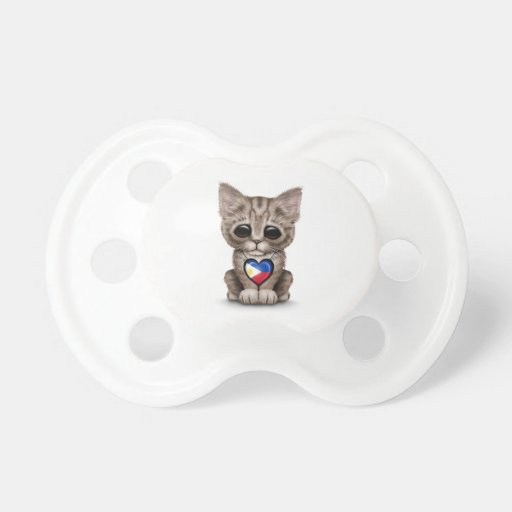 Cute Kitten Cat with Filipino Flag Heart, white Pacifiers