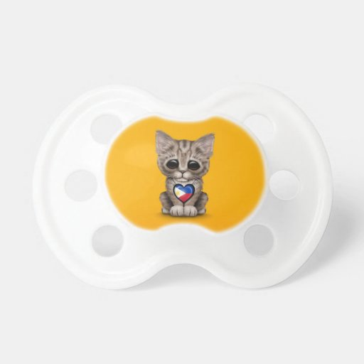 Cute Kitten Cat with Filipino Flag Heart, yellow Baby Pacifier
