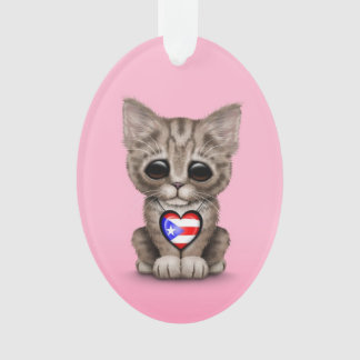 Cute Kitten Cat with Puerto Rico Flag Heart, pink Ornament