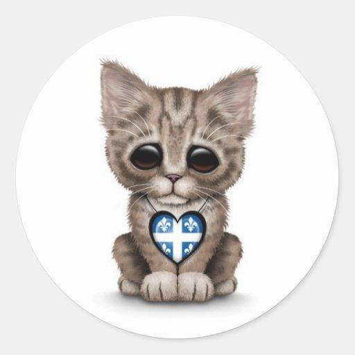Cute Kitten Cat with Quebec Flag Heart, white Round Sticker