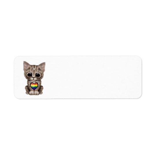 Cute Kitten Cat with Rainbow Gay Pride Heart Return Address Label