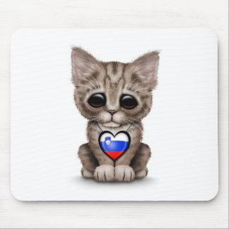 Cute Kitten Cat with Slovenian Flag Heart, white Mouse Pad