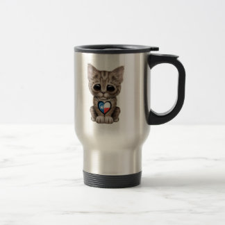 Cute Kitten Cat with Texas Flag Heart Travel Mug