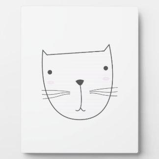 Cute kitten design on white plaque