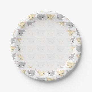 Cute Kitten Face Pattern 7 Inch Paper Plate