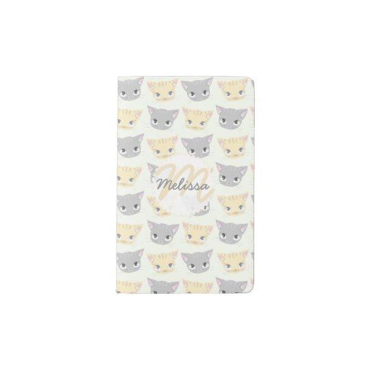 Cute Kitten Face Pattern Pocket Moleskine Notebook