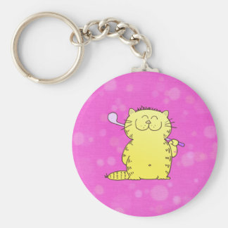Cute Kitten Golf Basic Round Button Keychain