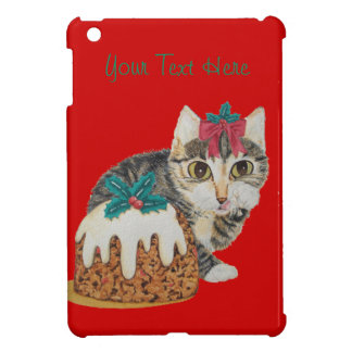 cute kitten gray tabby licking paw christmas case for the iPad mini