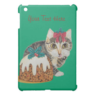 cute kitten gray tabby licking paw christmas cover for the iPad mini