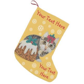 cute kitten gray tabby licking paw christmas small christmas stocking