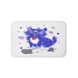 Cute kitten illustration bathroom mat