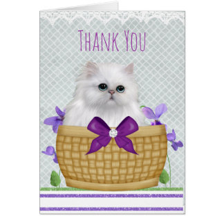 Cute Kitten in Basket Thank You Card