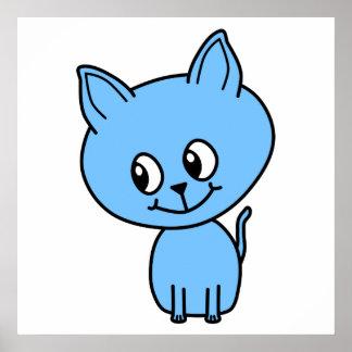 Cute Kitten, in Blue. Poster
