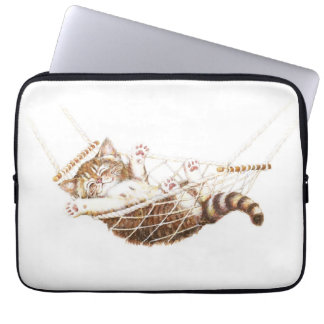 Cute kitten in hammock laptop sleeve