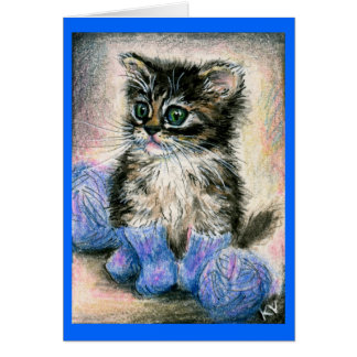 Cute kitten in knitted socks note card