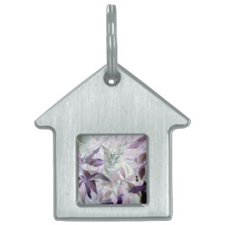 Cute Kitten in the bushes, purple abstract art Pet Name Tag