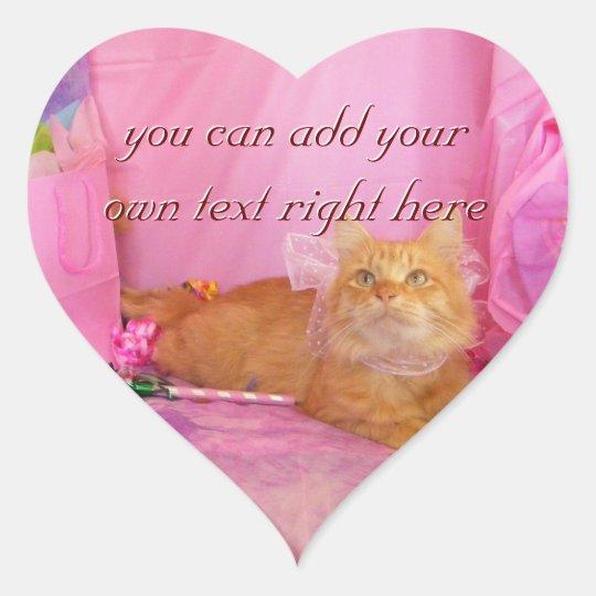 Cute Kitten Pink Birthday Heart Stickers