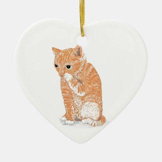Cute Kitten  Products Ceramic Heart Ornament