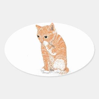 Cute Kitten  Products Oval Sticker