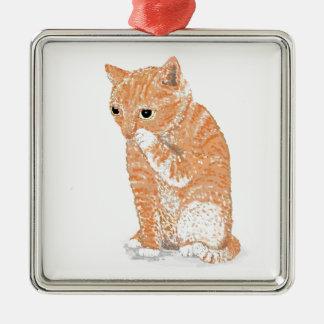 Cute Kitten  Products Silver-Colored Square Ornament