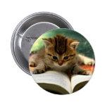 Cute Kitten Reading a Book 2 Inch Round Button