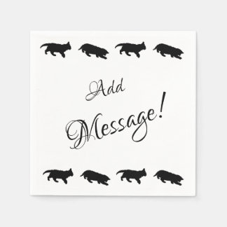 Cute Kitten Silhouette, Add Message Disposable Napkins