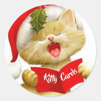Cute Kitten Stickers Singing Christmas Carols
