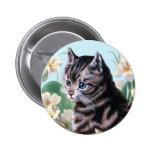 Cute kitten - vintage cat art button