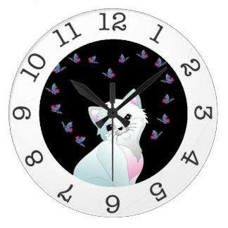 cute kitten wall clock