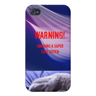 cute kitten warning: purple iPhone 4/4S cases