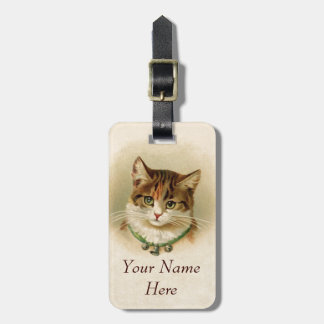 Cute kitten with bells on necklace - for cat lover luggage tag