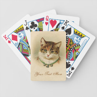 Cute kitten with bells on necklace - for cat lover poker deck