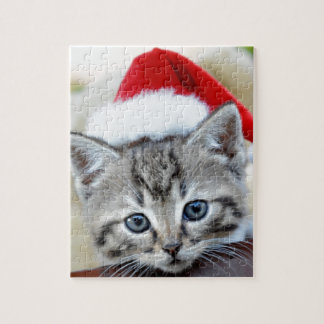 Cute kitten with Christmas hat Puzzles