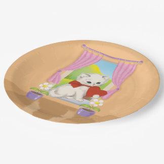 Cute kitten with love heart art paper plate