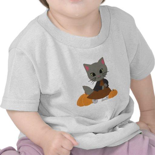 Cute Kitten with Pumpkins Halloween Clothing Tees