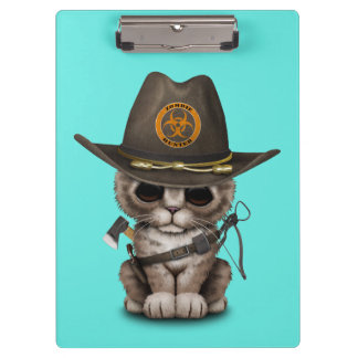 Cute Kitten Zombie Hunter Clipboard