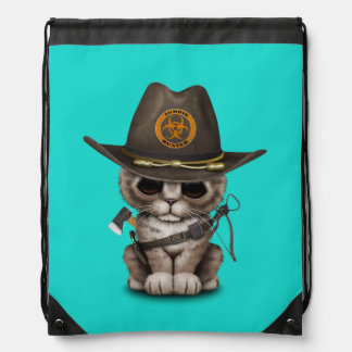 Cute Kitten Zombie Hunter Drawstring Bag